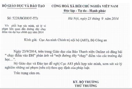 """bo-gd-dt-de-nghi-cong-an-phoi-hop-xac-minh-duong-day-""""chay-diem-vao-dai-hoc"""""""